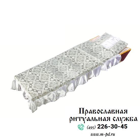 """Комплект в гроб """"Купеческий"""", вышивка серебром"""