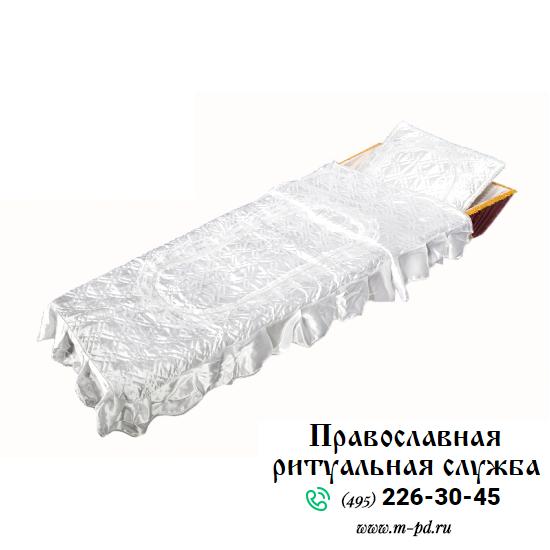 """Комплект в гроб """"Элегия"""", вышивка серебро"""