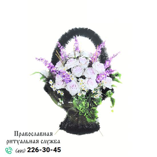 Траурная корзина из искусственных цветов №1