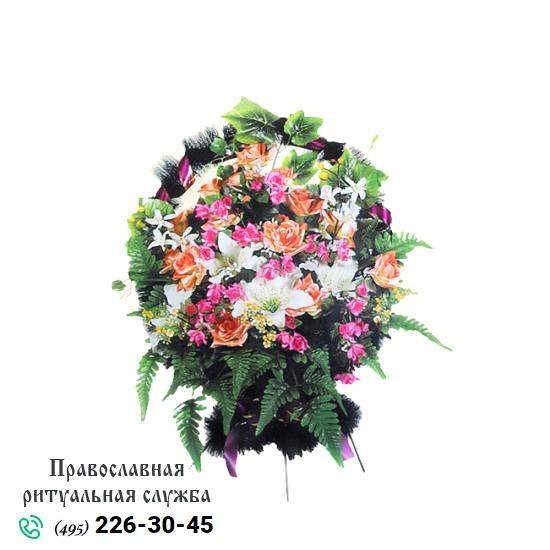 Траурная корзина из искусственных цветов №4
