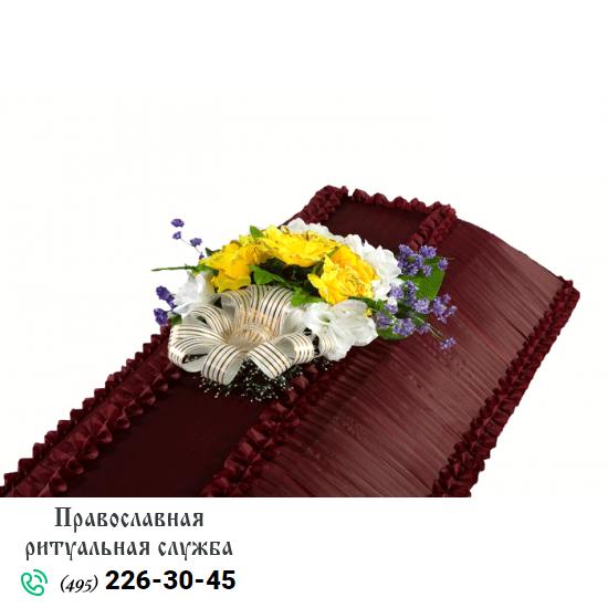 Траурная композиция из искусственных цветов на гроб №1