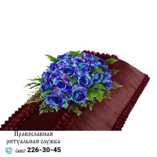 Траурная композиция из искусственных цветов на гроб №3