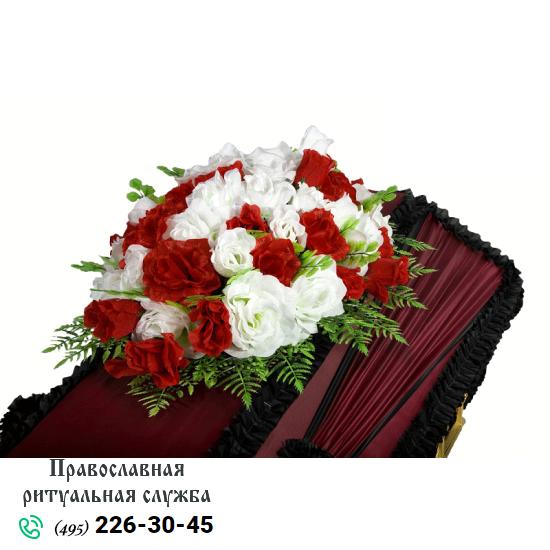 Траурная композиция из искусственных цветов на гроб №6