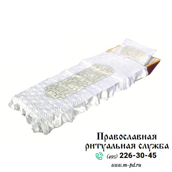"""Комплект в гроб """"Ладья"""", вышивка серебром"""